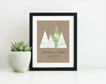 Adventuring Together Print- Wedding Gifts for Couple- Anniversary Gifts for Men- Travel Gift for Couples- Map Art Wedding Gift- Custom Map