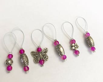 Stitch markers for knitting (set of 6)