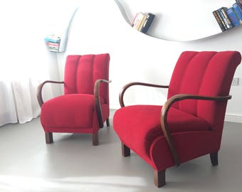 Vintage Retro Design Red Art Deco Bentwood Armchair by Thonet