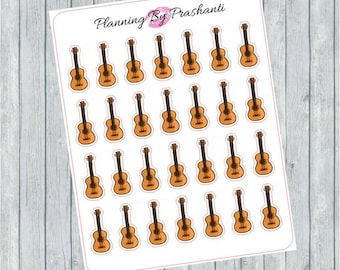 Guitar Band Instrument Planner Stickers - For Erin Condren Life Planner or Happy Planner