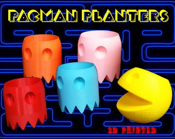 3D Printed Pac-Man Planter Set - By 3D Cauldron