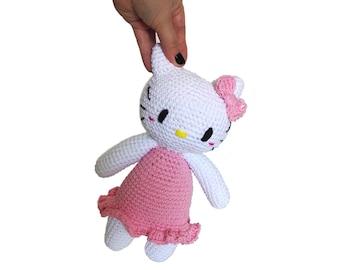 READY TO SHIP: Handmade crochet Hello kitty amigurumi kawaii tsumtsum 25 cm