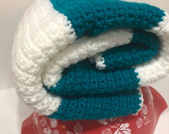 Turquoise and White Crochet Baby Blanket