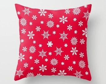 Christmas Pillow, Pillowcase, Snowflake Pillow, Throw Pillow Cover, Red Pillow, Green Pillow, Xmas Pillow, Christmas Decor, Xmas Decor, Cute