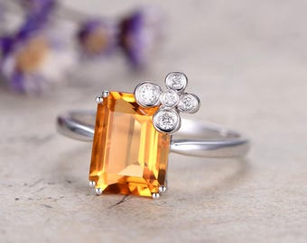 Floral Natural citrine ring-Solid 14K white gold diamond engagement ring-custom made fine jewelry-Art deco promise ring for her,unique ring