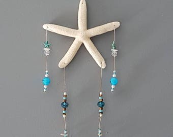 Starfish Hanging Ornament with Shells and Beads, Starfish Wall Decor with Beads, Starfish Mobile, Starfish Door Hanger, Starfish Ornaments