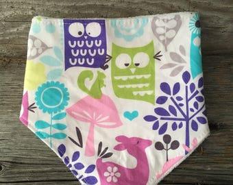 Bavana Terry OWL forest deer baby bib bandana scarf bib
