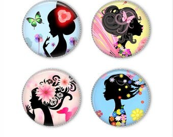 Women silhouettes magnets or pins, flower magnets pins, refrigerator magnets, fridge magnets, office magnets