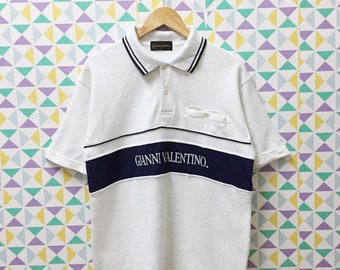 Vintage Gianni Valentino Spellout Logo Polo Shirt