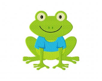 Frog toad machine embroidery design