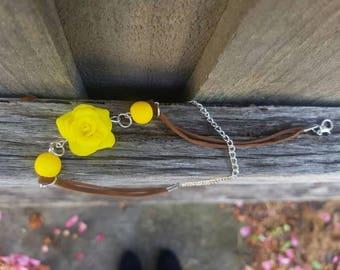 Polymer clay yellow rose bracelet