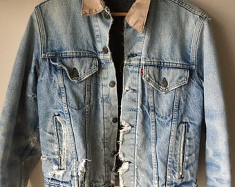 Vintage LEVIS Big E Corduroy Collar Jean Jacket Heavily Distressed