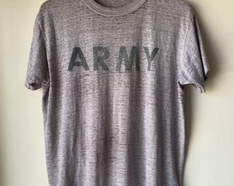 Vintage 80's ARMY Gray T Shirt, Paper Thin, Buttery Soft, 1980s Burnout