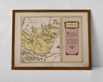 Map of Clan Sutherland | Moray, Dornoch Clan Scottish Gift Map, Poster of Scottish Sutherlands - Archival Giclée Print | Dornoch, Inverness