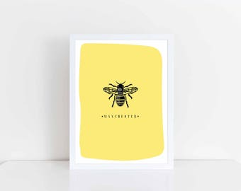 A4 A5 Manchester print - worker bee - wall art - illustration