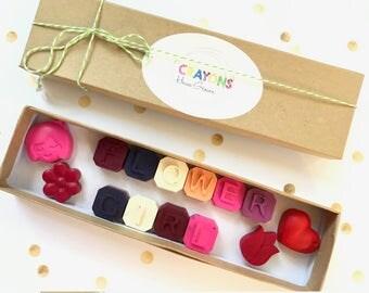 FLOWER GIRL gift // flower girl crayons // wedding favors // flower crayons // crayon favors // homegrowncrayons
