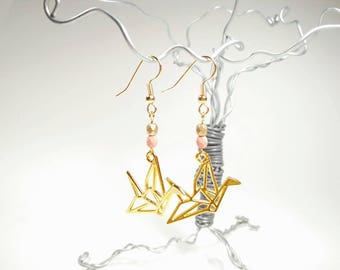 Gold Origami Crane Earrings - Pale Pink