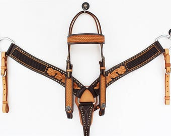 2 Tone Western Ranch Trail Barrel Horse Bridle & Breast Collar Set Made on USA American Cowhide Made To Order