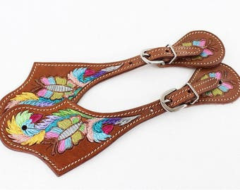 Hand painted Butterfly Adult sized Horse Riding Spur Straps Made On American Cowhide Leather