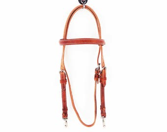 Hermann Oaks Cowhide Harness Leather Western Horse Trail Cowboy Working Ranch Bridle Headstall Tack
