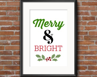 Merry & Bright Instant Download Printable 8.5 x 11