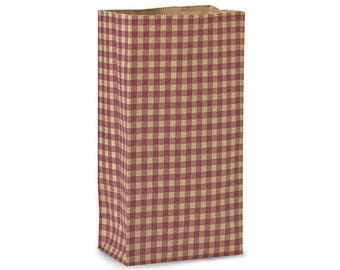 Gingham Kraft Paper Gift Bags 50 Count ,  4 Pound - Burgundy,  Farmhouse style,   Gift Wrap. Packaging