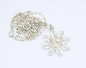 Vintage argent edelweiss fleur collier collier/dainty collier/edelweiss bijoux/cannetille bijoux/bijoux en filigrane collier/filigrane