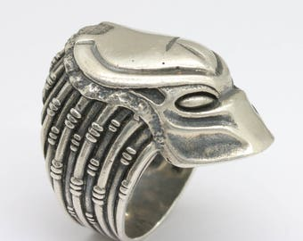 predator alien sterling silver ring, movie memorabilia jewelry, sterling silver ring, fictional character, 1980's movie, nerd, free shipping
