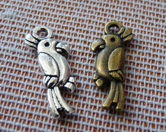 Parrot Charm, Cockatoo Charms, Tropical Bird Charms, Animal Charms, Bird Charms, Cute Bird Pendant, Silver tone Charm, Bronze Parrot Charm