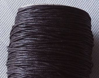 Brown Waxed Cotton Cord, 1mm Wide Brown Cotton Cord, Dark Brown Necklace Cord, Bracelet Cord Lace String Rope, Beading Supplies (W11)