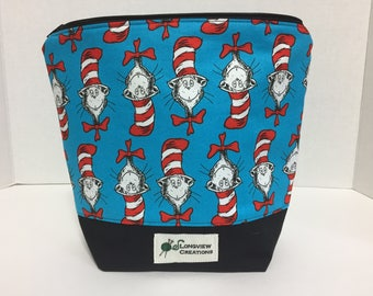 Wedge Bag, Knitting Project Bag, Make-up Bag, Cat in the Hat