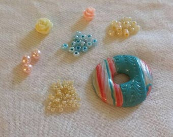 Bead Kit, Jewelry Kit, Craft Kit, Pink Ivory and Aqua Blue