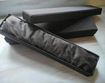 Wand box handmade  / for custom wands\ fun gift / custom wand \ linen wrapped with velvet pillow inside