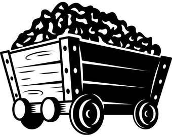 Railroad Cart #2 Mining Industrial Railway Wagon Mine Gold Wood .SVG .EPS .PNG Instant Digital Clipart Vector Cricut Cut Cutting Download