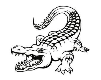 Alligator #1 Crocodile Gator Skin Wildlife Reptile Animal Zoo Logo .SVG .EPS .PNG Digital Clipart Vector Cricut Cut Cutting Printable File