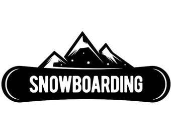 Snowboarding Logo #7 Snowboarder Snow Board Skiing Helmet Google Mask Winter Extreme Sport .SVG .EPS .PNG Clipart Vector Cricut Cut Cutting