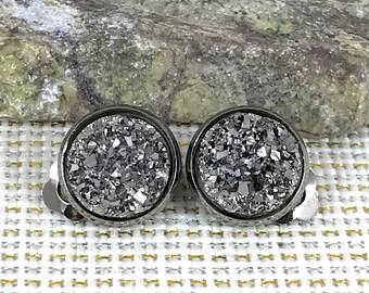 Gunmetal Druzy Clip On Earrings - Druzy Earrings - Non Pierced Ears - Clip On Earrings - Clip Ons - Druzy ClipOns - Gunmetal - Jewelry -