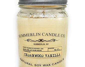Summerlin Candle Company 12 Oz Soy Wax, Mason Jar Candle, Cedar wood Vanilla Scented