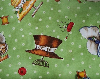 Tiny Tailors Hats on green fabric by Quilting Treasures 1649-20989-G
