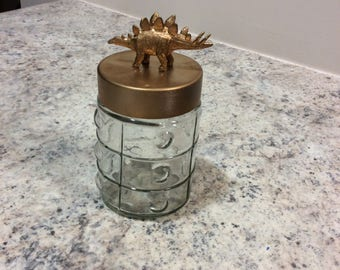 Gold Dinosaur-Topped Jar