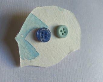 Mix-Match Blue Button Earrings