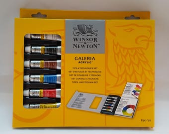 Winsor and Newton Acrylic Set- Acrylic Tips and Tecniques Set-Galeria acrylic W and N Set-  acrylic paint- artist gift-adult painting-
