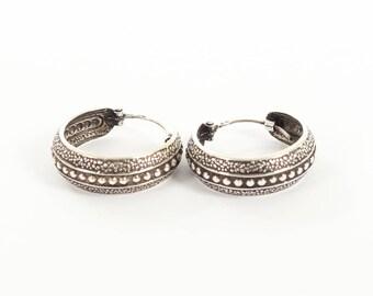 Sterling Silver Oxidised Hooped Earrings