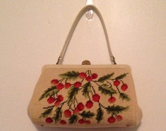 On Sale Vintage Embroidered Cherry Top Handle Purse