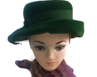 Vintage Green Velvet Hat