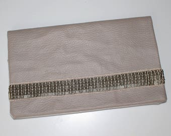 Door checkbook faux Tan Leather and gold glitter Strip light