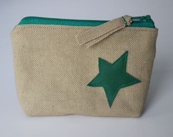 Wallet / card in cotton and faux leather green star