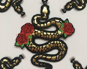 Rose and Gold Snake Iron On Patch