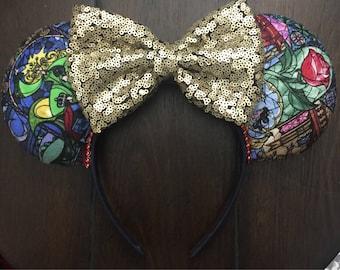 Enchanted Glass Ears, Beauty and the Beast Ears, Stained Glass Ears, Disney Ears