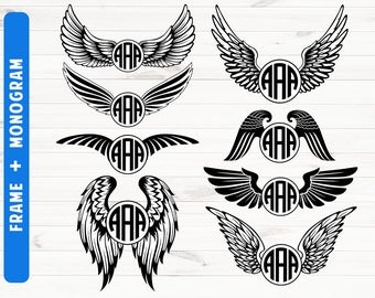 Monogram wings SVG Round monogram svg dxf png eps Cutting files Commerial use